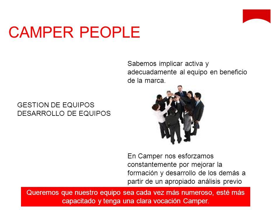 GESTION DE EQUIPOS DESARROLLO DE EQUIPOS CAMPER PEOPLE Sabemos implicar activa y adecuadamente al equipo en beneficio de la marca. En Camper nos esfor