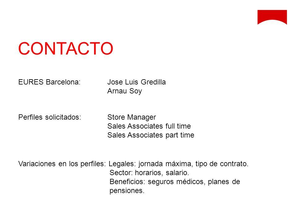 CONTACTO EURES Barcelona: Jose Luis Gredilla Arnau Soy Perfiles solicitados: Store Manager Sales Associates full time Sales Associates part time Varia