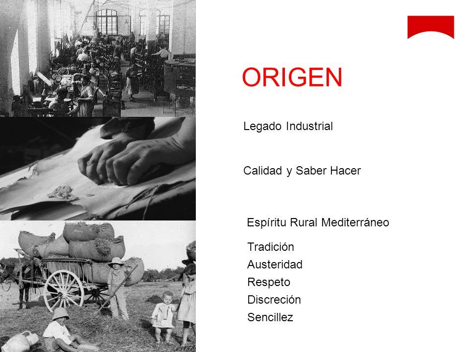 Legado Industrial Calidad y Saber Hacer Espíritu Rural Mediterráneo Tradición Austeridad Respeto Discreción Sencillez ORIGEN