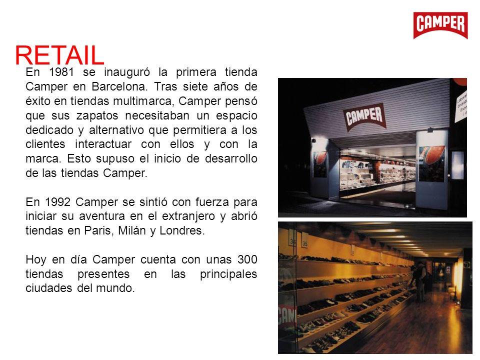 En 1981 se inauguró la primera tienda Camper en Barcelona. Tras siete años de éxito en tiendas multimarca, Camper pensó que sus zapatos necesitaban un