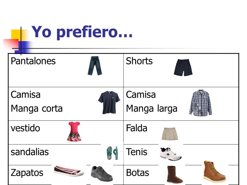 Yo prefiero… PantalonesShorts Camisa Manga corta Camisa Manga larga vestidoFalda sandaliasTenis ZapatosBotas
