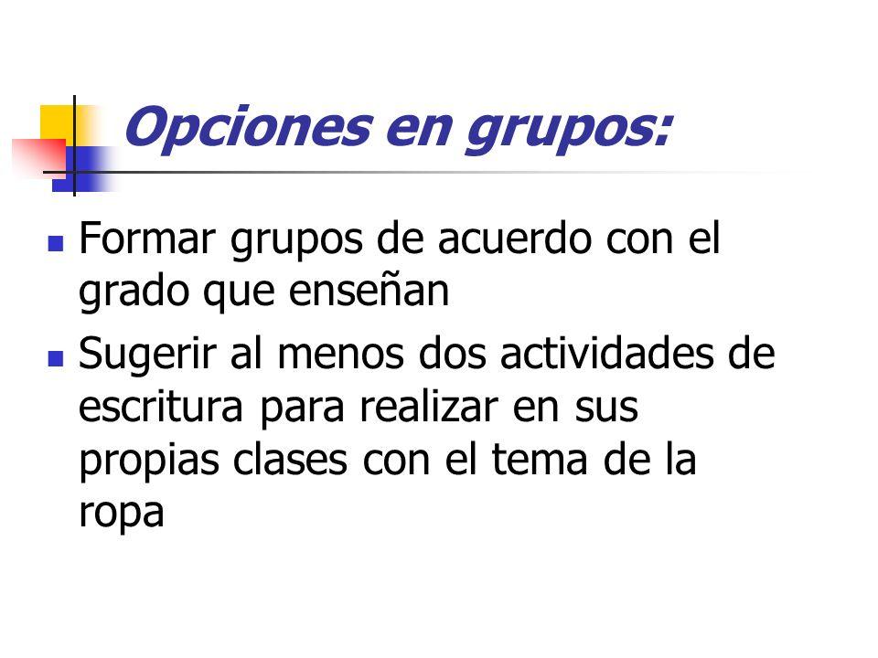 Opciones en grupos: Formar grupos de acuerdo con el grado que enseñan Sugerir al menos dos actividades de escritura para realizar en sus propias clase