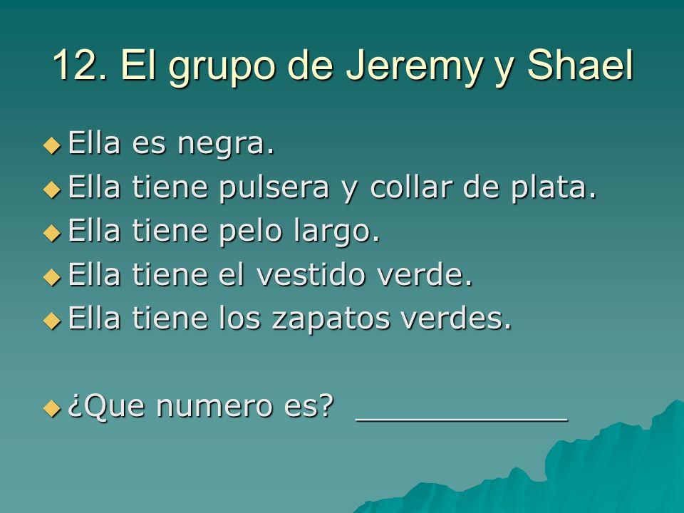 12. El grupo de Jeremy y Shael Ella es negra. Ella es negra. Ella tiene pulsera y collar de plata. Ella tiene pulsera y collar de plata. Ella tiene pe