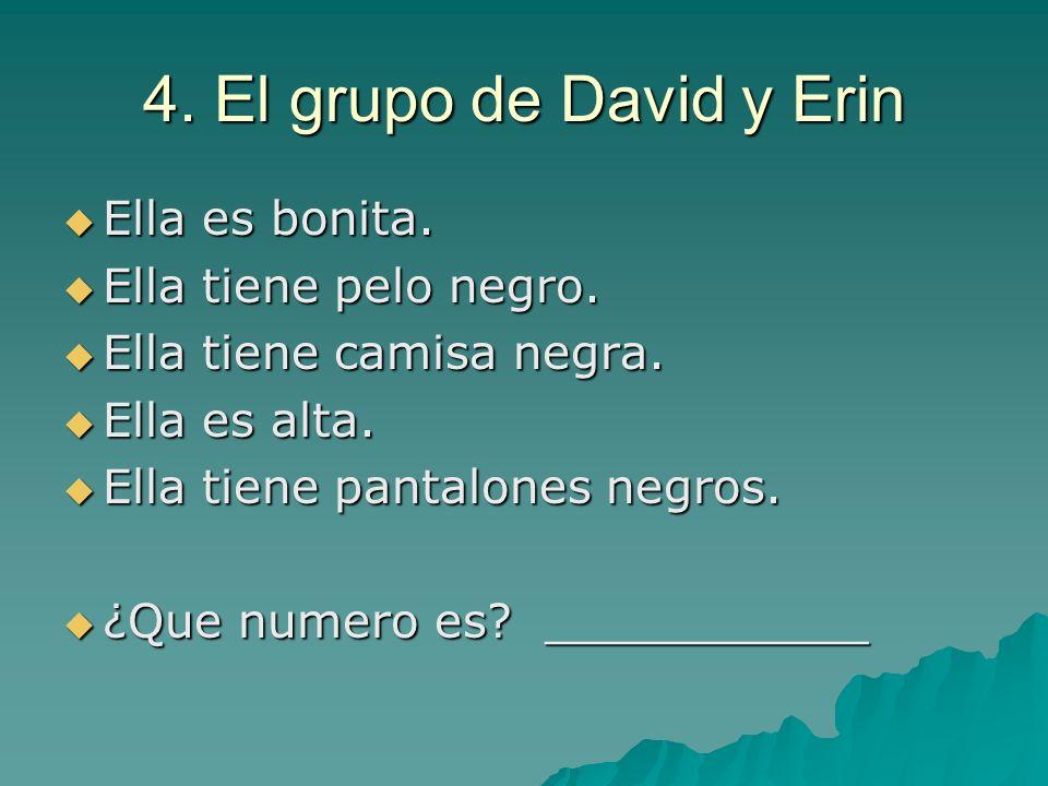 4. El grupo de David y Erin Ella es bonita. Ella es bonita. Ella tiene pelo negro. Ella tiene pelo negro. Ella tiene camisa negra. Ella tiene camisa n