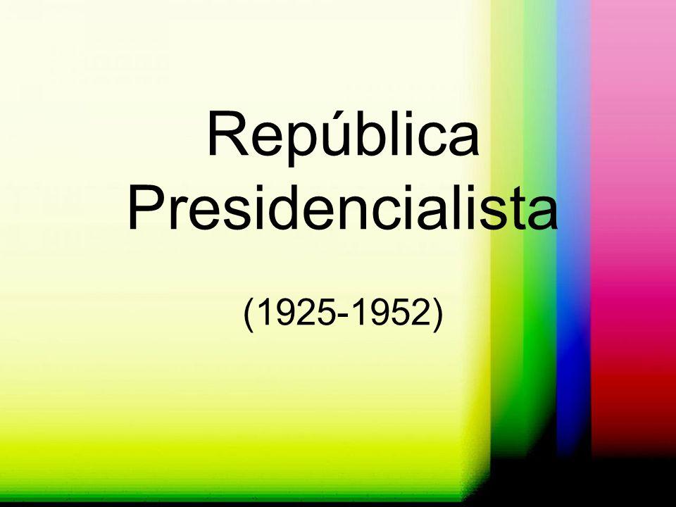Época País Nuevo periodo constitucional que habría de Caracterizarse por el respeto a las normas de la nueva Carta Fundamental Constitución de 1925 Republica Presidencialista X Régimen Parlamentarismo