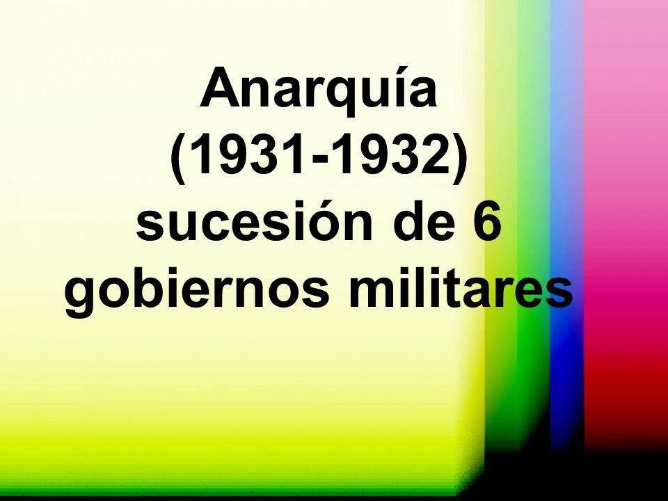Anarquía (1931-1932) sucesión de 6 gobiernos militares