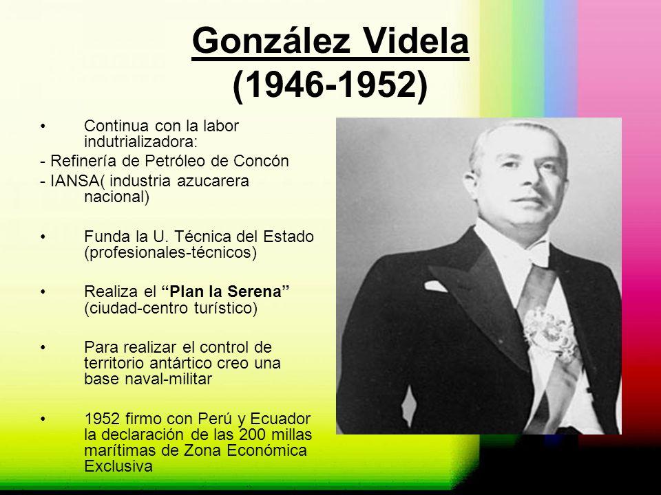 González Videla (1946-1952) Continua con la labor indutrializadora: - Refinería de Petróleo de Concón - IANSA( industria azucarera nacional) Funda la