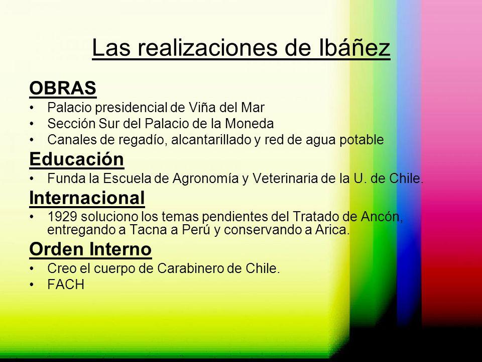 Las realizaciones de Ibáñez OBRAS Palacio presidencial de Viña del Mar Sección Sur del Palacio de la Moneda Canales de regadío, alcantarillado y red d