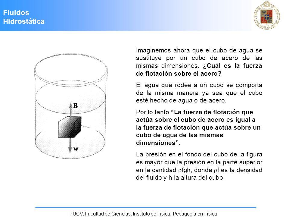 Fluidos Hidrostática PUCV, Facultad de Ciencias, Instituto de Física, Pedagogía en Física Imaginemos ahora que el cubo de agua se sustituye por un cub