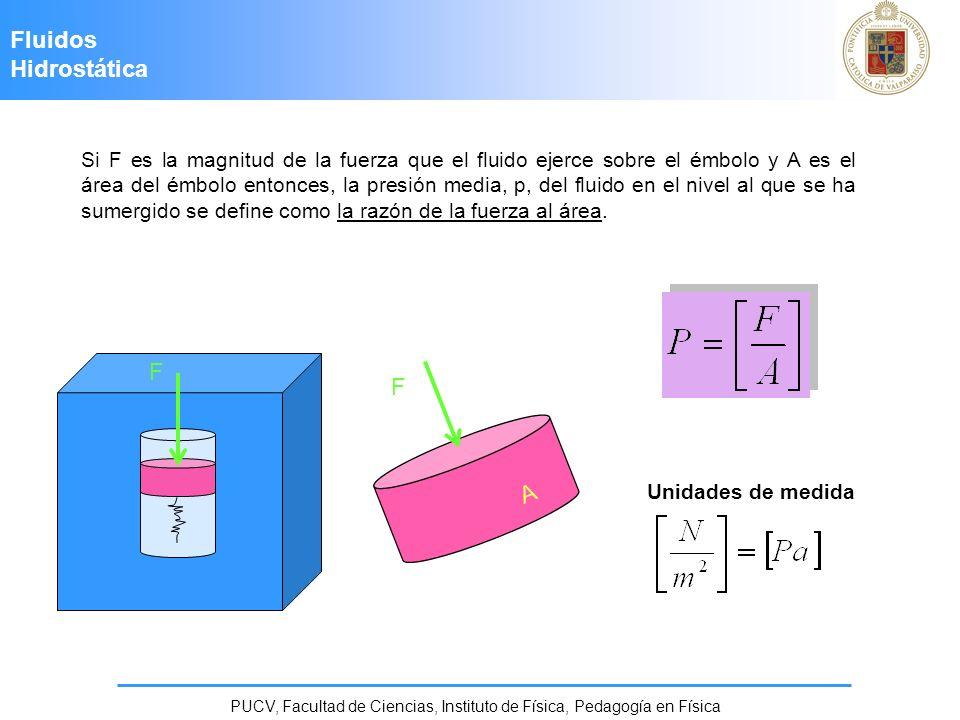 Fluidos Hidrostática PUCV, Facultad de Ciencias, Instituto de Física, Pedagogía en Física Un objeto totalmente sumergido Cuando un objeto está totalmente sumergido en un fluido de densidad f, la fuerza de flotación ascendente tiene una magnitud B = f V 0 g, donde V 0 es el volumen del objeto.