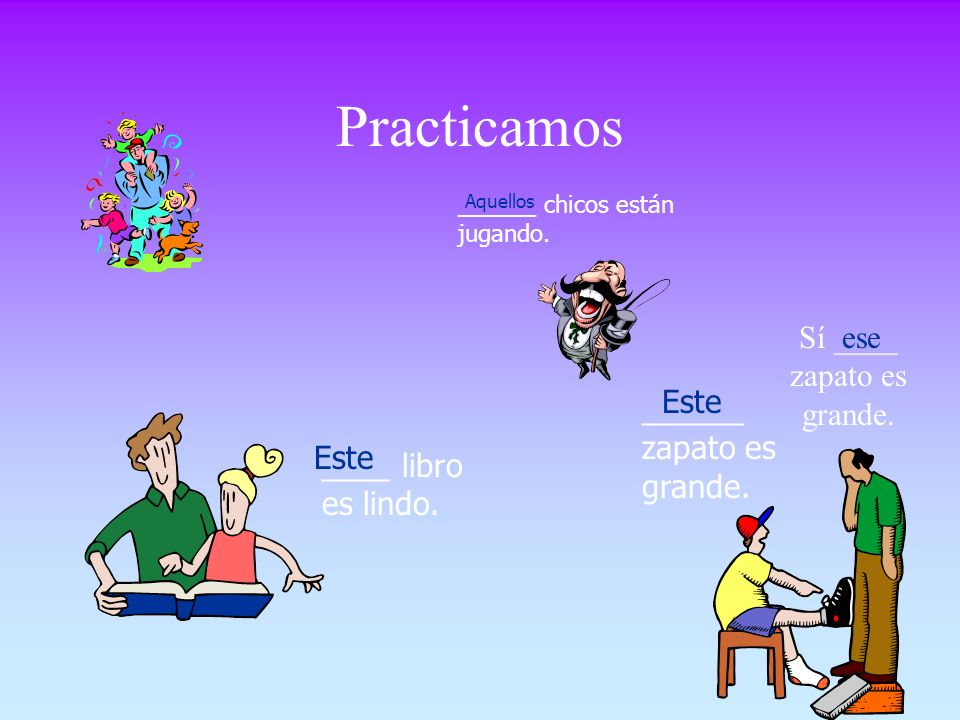 Adjetivos Demostrativos Demonstratives tell where objects or people are in relation to the person speaking: This book is mine. Do you want that blouse