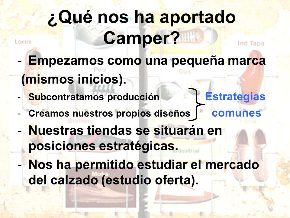 ¿Qué nos ha aportado Camper? -Empezamos como una pequeña marca (mismos inicios). -Subcontratamos producción Estrategias -Creamos nuestros propios dise