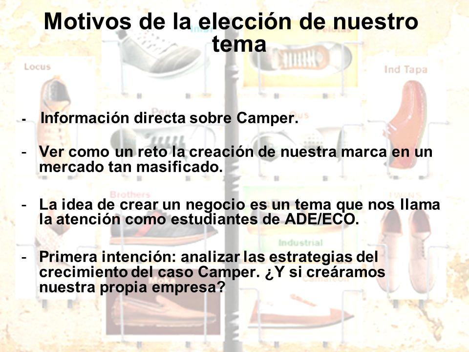 Motivos de la elección de nuestro tema - Información directa sobre Camper. -Ver como un reto la creación de nuestra marca en un mercado tan masificado