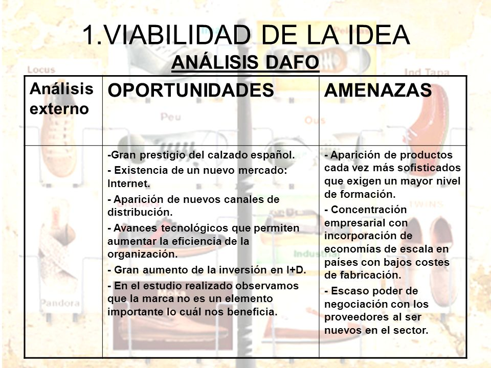 1.VIABILIDAD DE LA IDEA ANÁLISIS DAFO Análisis externo OPORTUNIDADESAMENAZAS -Gran prestigio del calzado español. - Existencia de un nuevo mercado: In