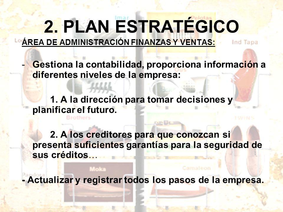 2. PLAN ESTRATÉGICO ÁREA DE ADMINISTRACIÓN FINANZAS Y VENTAS: -Gestiona la contabilidad, proporciona información a diferentes niveles de la empresa: 1