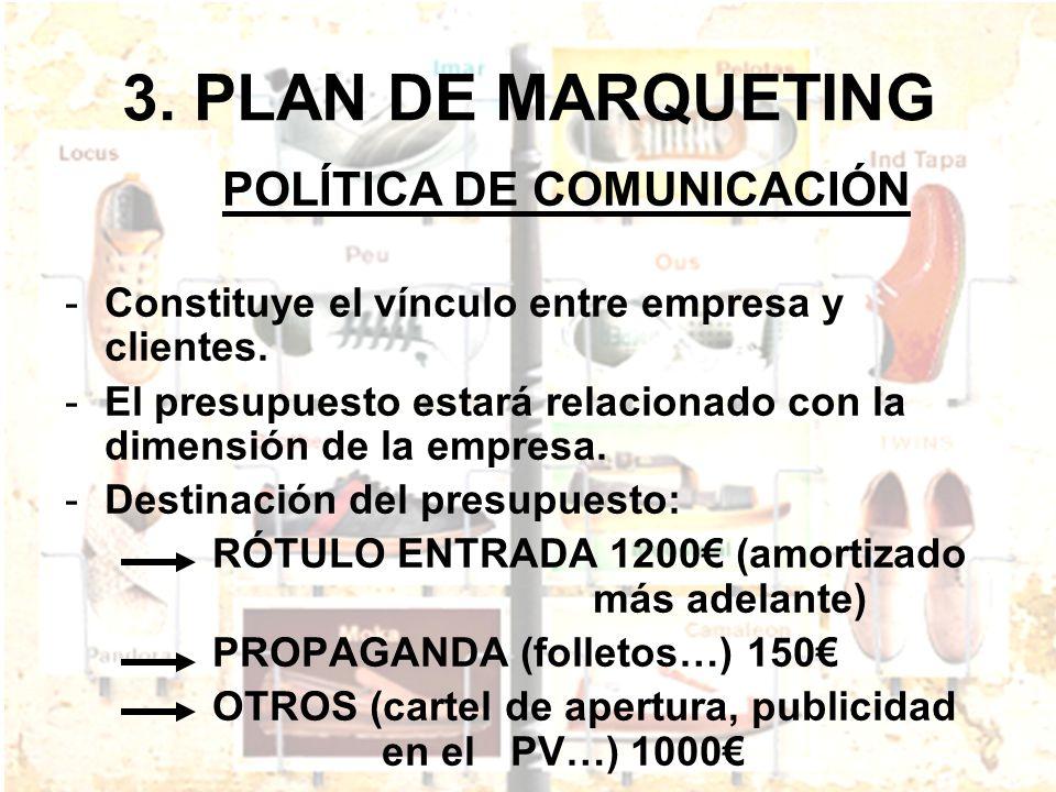 3. PLAN DE MARQUETING POLÍTICA DE COMUNICACIÓN -Constituye el vínculo entre empresa y clientes. -El presupuesto estará relacionado con la dimensión de