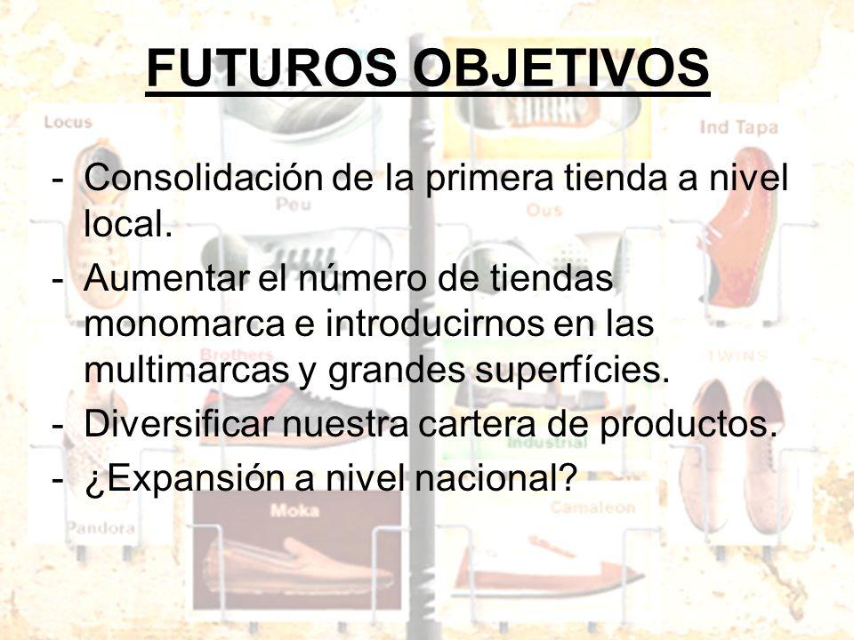 FUTUROS OBJETIVOS -Consolidación de la primera tienda a nivel local. -Aumentar el número de tiendas monomarca e introducirnos en las multimarcas y gra