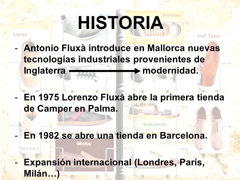 HISTORIA -Antonio Fluxà introduce en Mallorca nuevas tecnologías industriales provenientes de Inglaterra modernidad. -En 1975 Lorenzo Fluxà abre la pr
