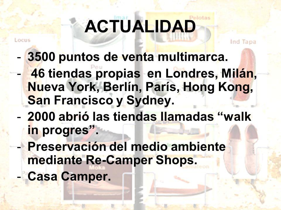 ACTUALIDAD -3500 puntos de venta multimarca. - 46 tiendas propias en Londres, Milán, Nueva York, Berlín, París, Hong Kong, San Francisco y Sydney. -20
