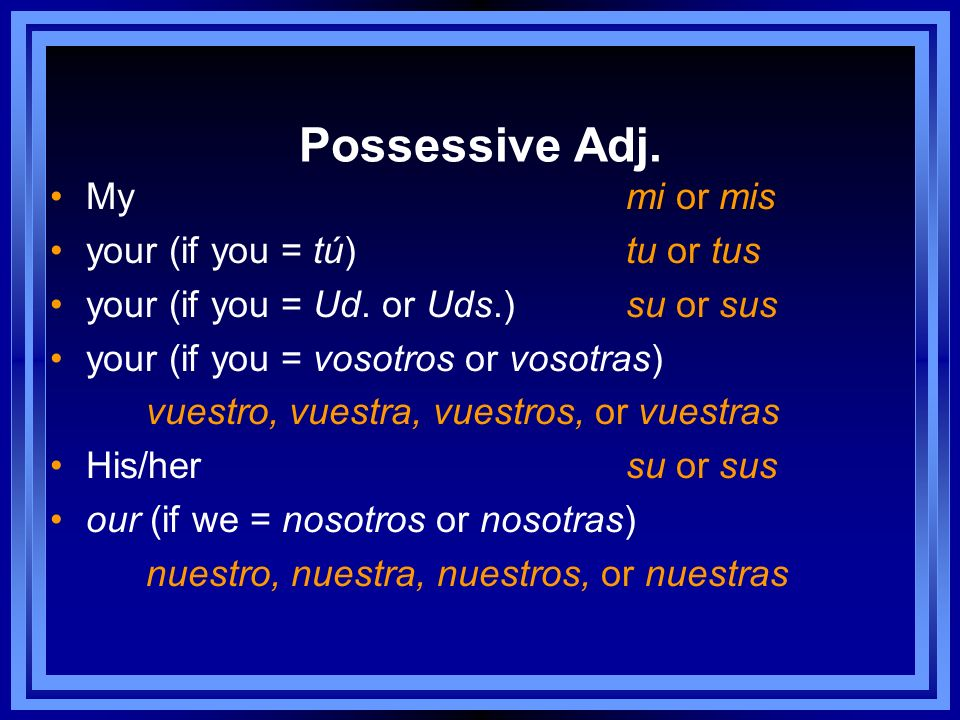 Possessive Adj. Mymi or mis your (if you = tú) tu or tus your (if you = Ud.