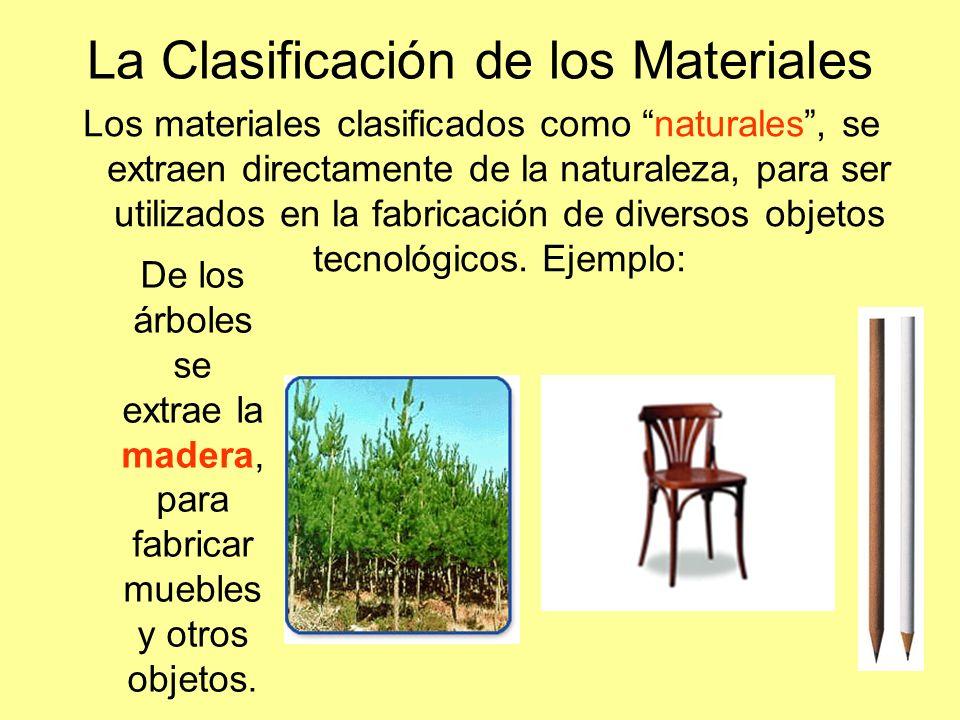 La Clasificación de los Materiales Los materiales clasificados como naturales, se extraen directamente de la naturaleza, para ser utilizados en la fab