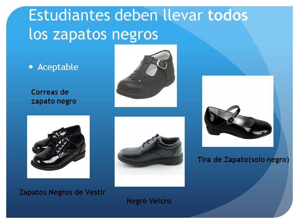 Estudiantes deben llevar todos los zapatos negros Aceptable Zapatos Negros de Vestir Negro Velcro Tira de Zapato(solo negro) Correas de zapato negro