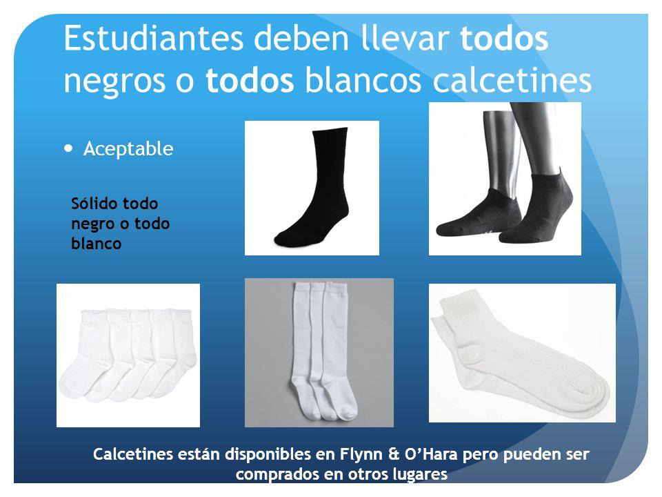 Estudiantes deben llevar todos negros o todos blancos calcetines Aceptable Sólido todo negro o todo blanco Calcetines están disponibles en Flynn & OHa