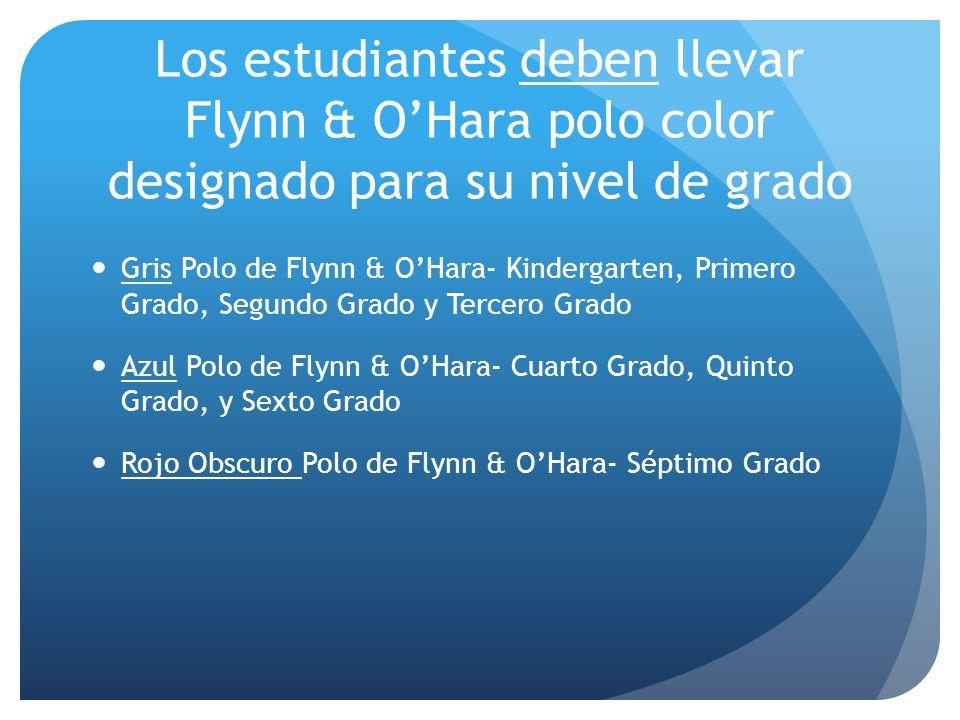 Los estudiantes deben llevar Flynn & OHara polo color designado para su nivel de grado Gris Polo de Flynn & OHara- Kindergarten, Primero Grado, Segund