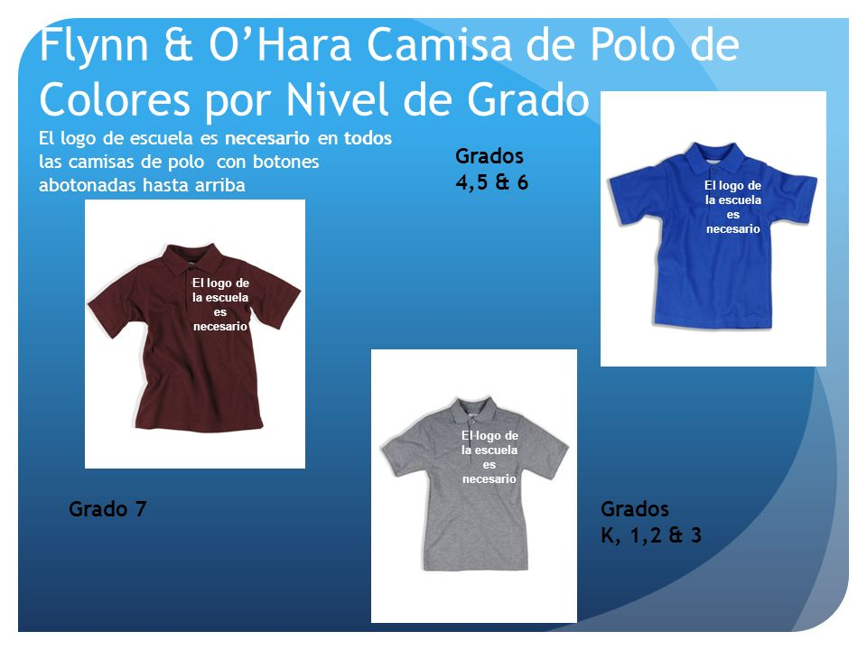 Flynn & OHara Camisa de Polo de Colores por Nivel de Grado El logo de escuela es necesario en todos las camisas de polo con botones abotonadas hasta a