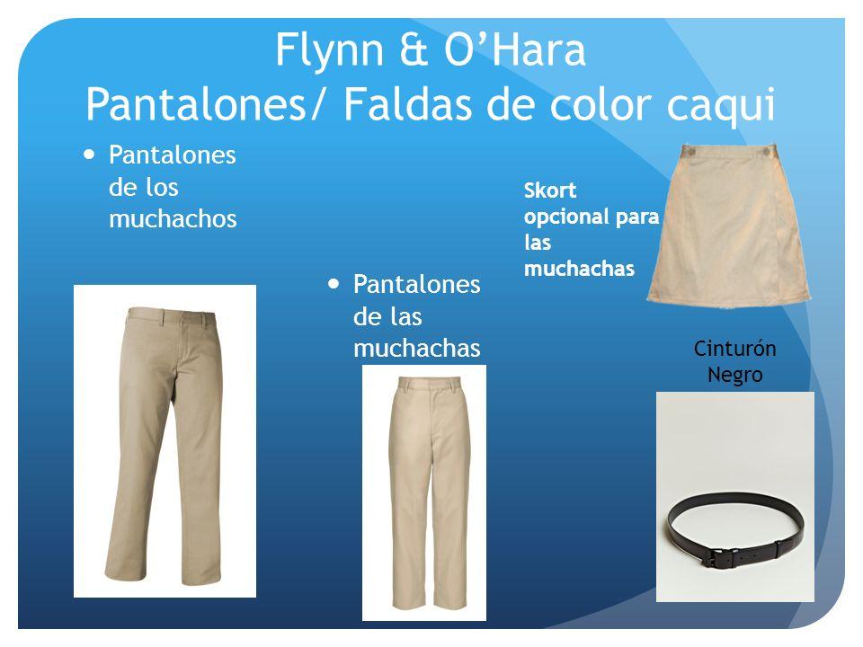 Flynn & OHara Pantalones/ Faldas de color caqui Pantalones de los muchachos Skort opcional para las muchachas Cinturón Negro Pantalones de las muchach