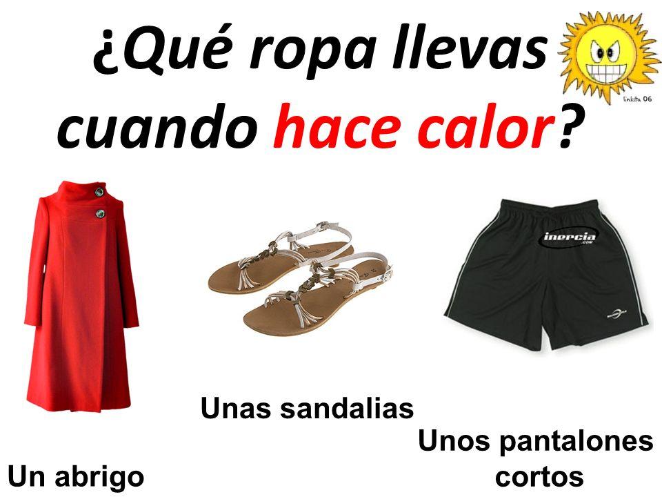 ¿Qué ropa llevas cuando hace calor? Un abrigo Unas sandalias Unos pantalones cortos