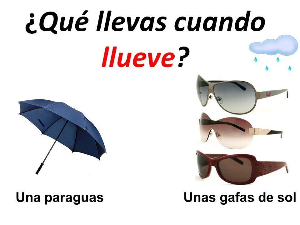 ¿Qué llevas cuando llueve? Una paraguasUnas gafas de sol