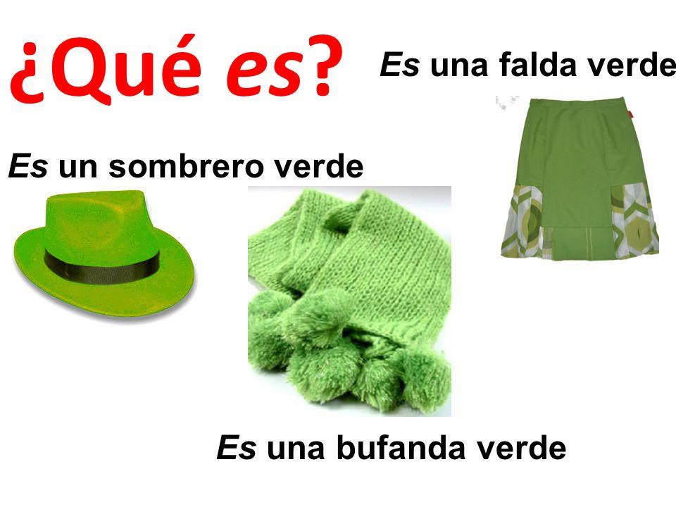 Es un sombrero verde Es una bufanda verde Es una falda verde ¿Qué es?