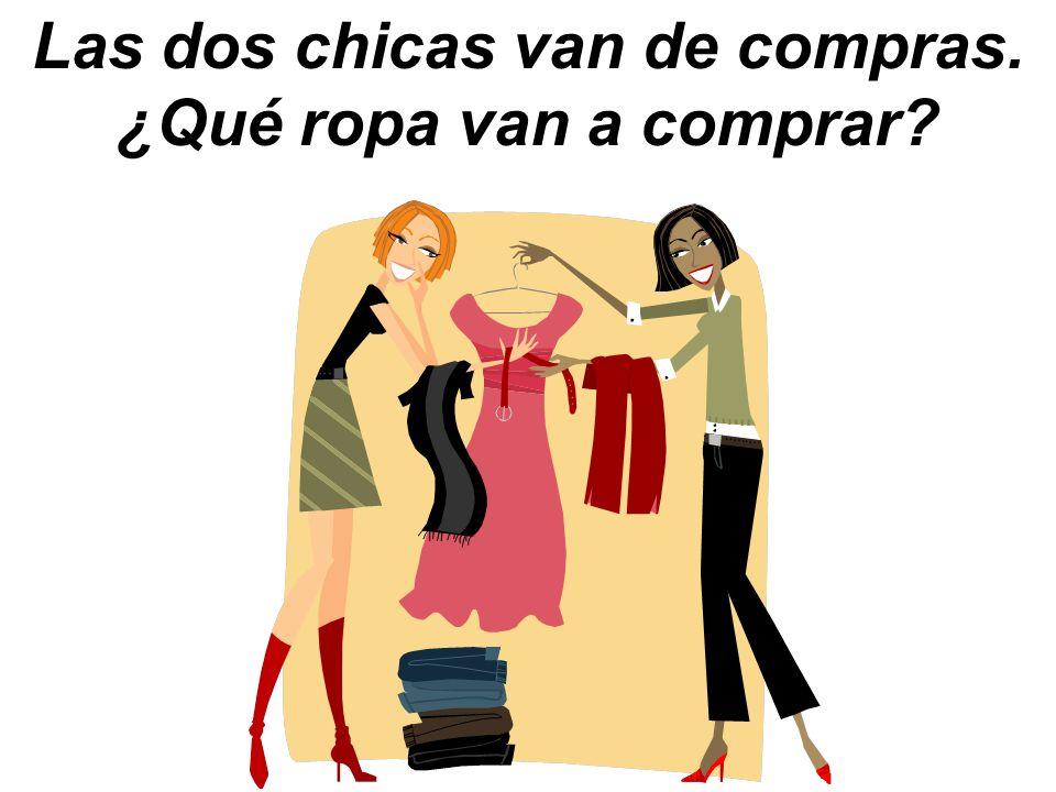 Las dos chicas van de compras. ¿Qué ropa van a comprar?