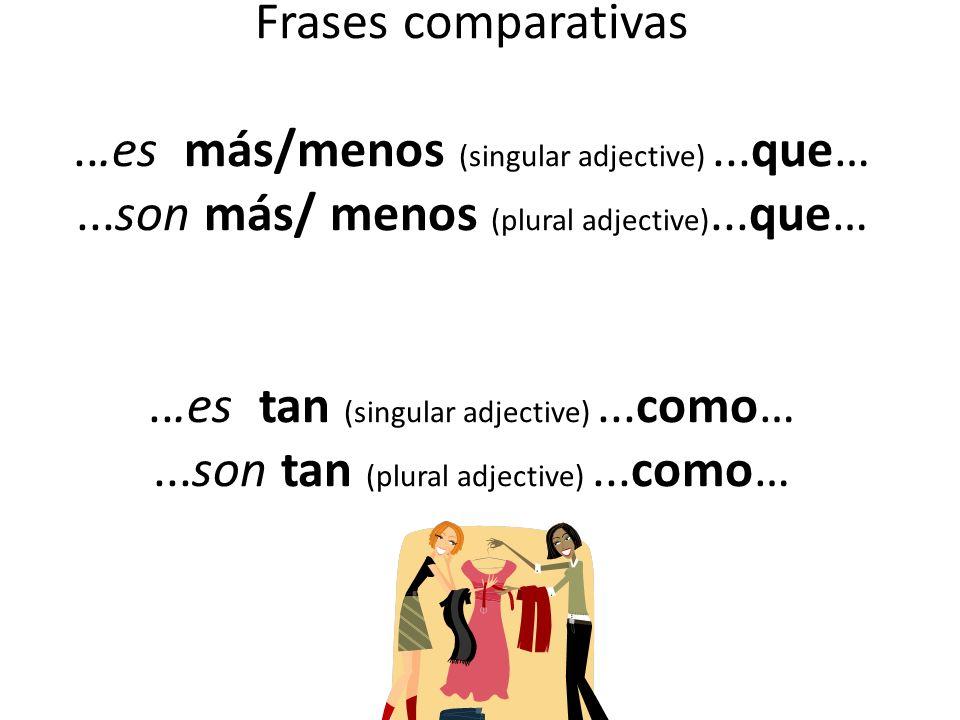 Frases comparativas...es más/menos (singular adjective)...que…...son más/ menos (plural adjective)...que…...es tan (singular adjective)...como…...son