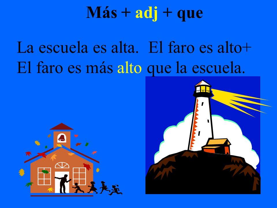 Más + adj + que La escuela es alta. El faro es alto+ El faro es más alto que la escuela.