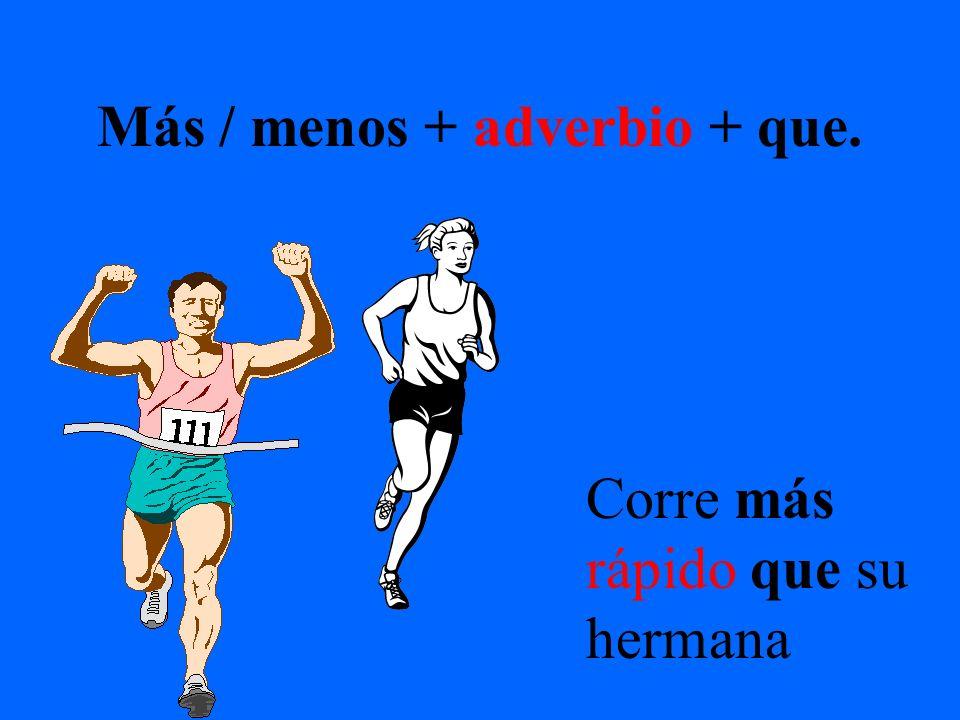 Más / menos + adverbio + que. Corre más rápido que su hermana