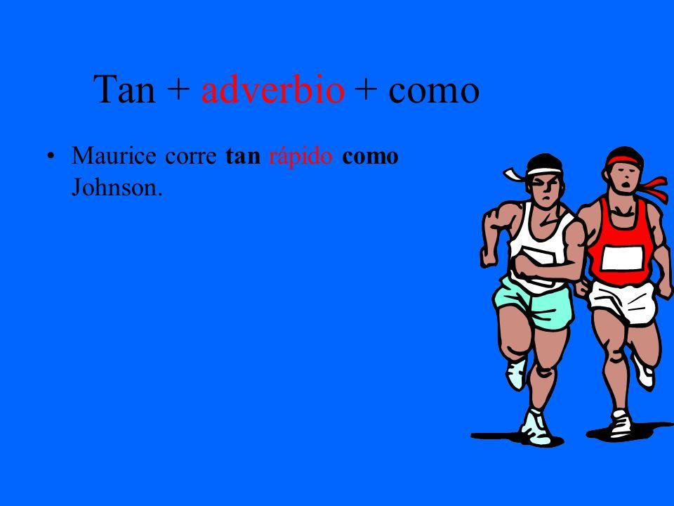 Tan + adverbio + como Maurice corre tan rápido como Johnson.