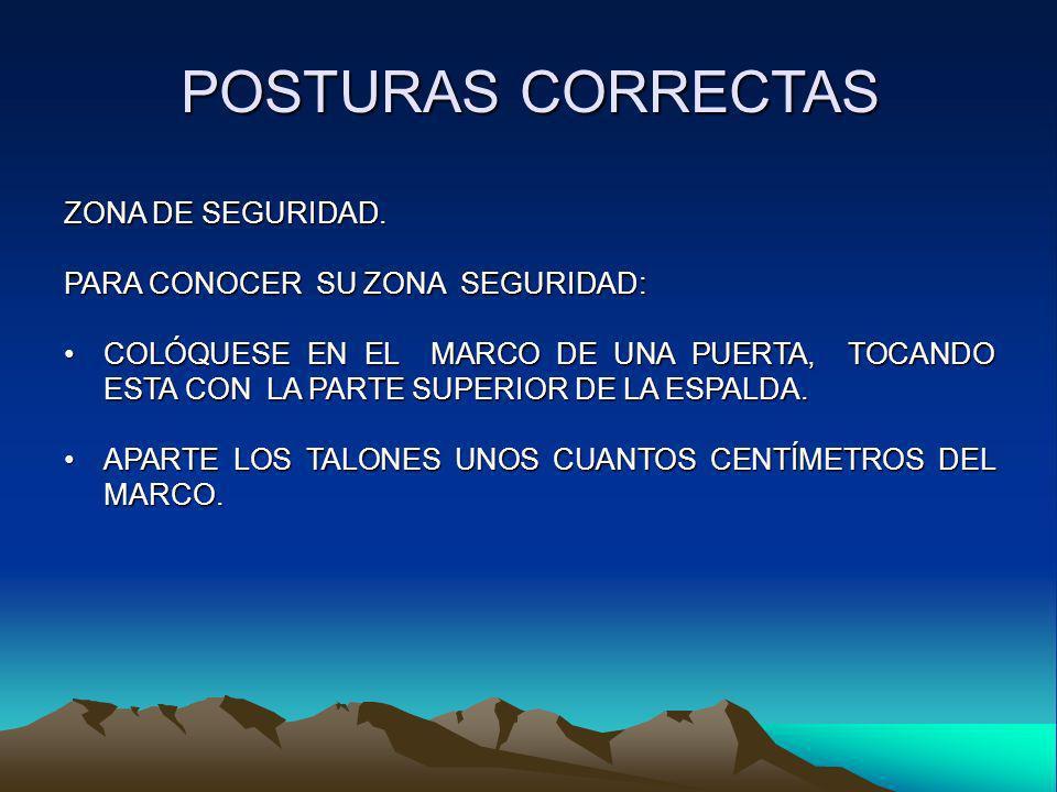 POSTURAS CORRECTAS ZONA DE SEGURIDAD. PARA CONOCER SU ZONA SEGURIDAD: COLÓQUESE EN EL MARCO DE UNA PUERTA, TOCANDO ESTA CON LA PARTE SUPERIOR DE LA ES