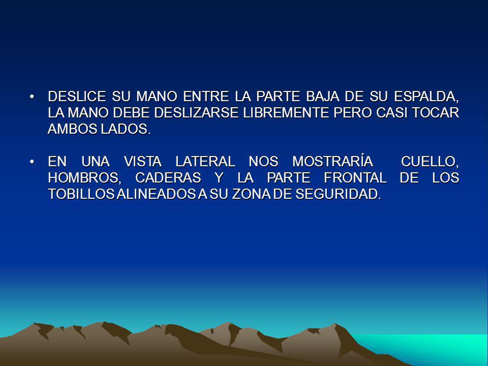 DESLICE SU MANO ENTRE LA PARTE BAJA DE SU ESPALDA, LA MANO DEBE DESLIZARSE LIBREMENTE PERO CASI TOCAR AMBOS LADOS.DESLICE SU MANO ENTRE LA PARTE BAJA