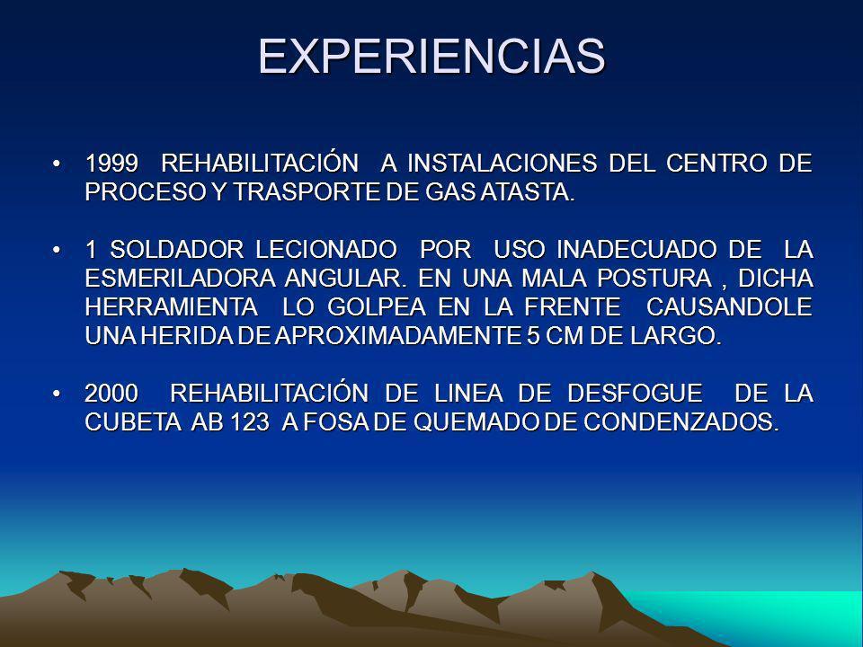 EXPERIENCIAS 1999 REHABILITACIÓN A INSTALACIONES DEL CENTRO DE PROCESO Y TRASPORTE DE GAS ATASTA.1999 REHABILITACIÓN A INSTALACIONES DEL CENTRO DE PRO