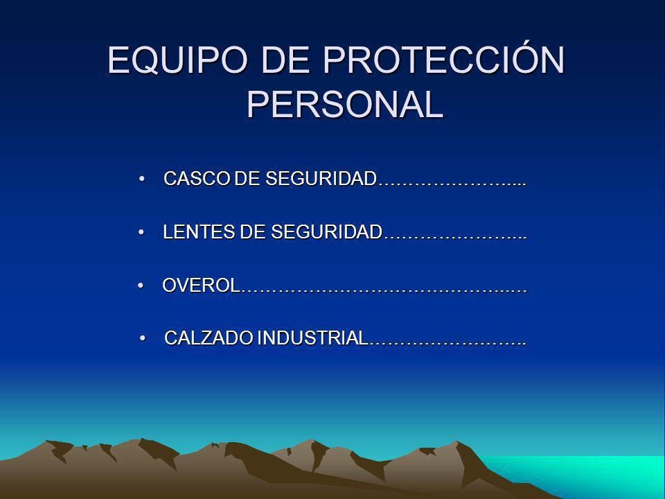 EQUIPO DE PROTECCIÓN PERSONAL EQUIPO DE PROTECCIÓN PERSONAL CASCO DE SEGURIDAD…………………....CASCO DE SEGURIDAD………………….... LENTES DE SEGURIDAD…………………...LE