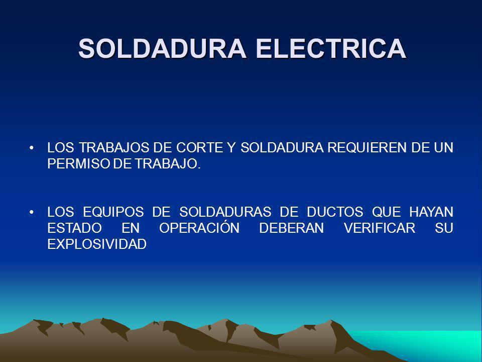 SOLDADURA ELECTRICA LOS TRABAJOS DE CORTE Y SOLDADURA REQUIEREN DE UN PERMISO DE TRABAJO. LOS EQUIPOS DE SOLDADURAS DE DUCTOS QUE HAYAN ESTADO EN OPER