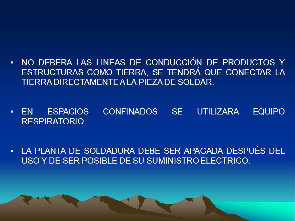 NO DEBERA LAS LINEAS DE CONDUCCIÓN DE PRODUCTOS Y ESTRUCTURAS COMO TIERRA, SE TENDRÁ QUE CONECTAR LA TIERRA DIRECTAMENTE A LA PIEZA DE SOLDAR. EN ESPA