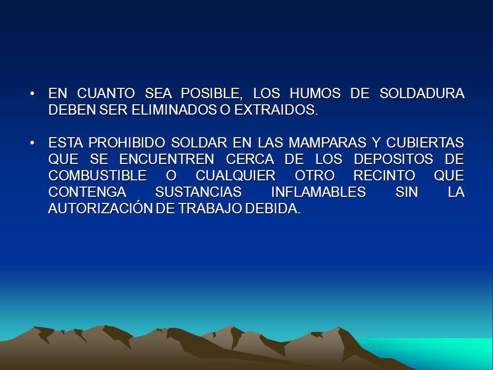EN CUANTO SEA POSIBLE, LOS HUMOS DE SOLDADURA DEBEN SER ELIMINADOS O EXTRAIDOS.EN CUANTO SEA POSIBLE, LOS HUMOS DE SOLDADURA DEBEN SER ELIMINADOS O EX