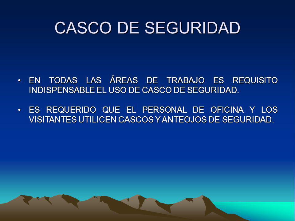 CASCO DE SEGURIDAD EN TODAS LAS ÁREAS DE TRABAJO ES REQUISITO INDISPENSABLE EL USO DE CASCO DE SEGURIDAD.EN TODAS LAS ÁREAS DE TRABAJO ES REQUISITO IN