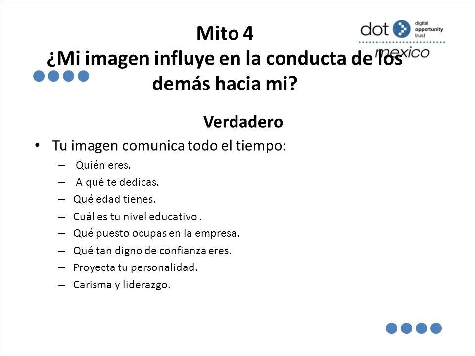 Mito 4 ¿Mi imagen influye en la conducta de los demás hacia mi.