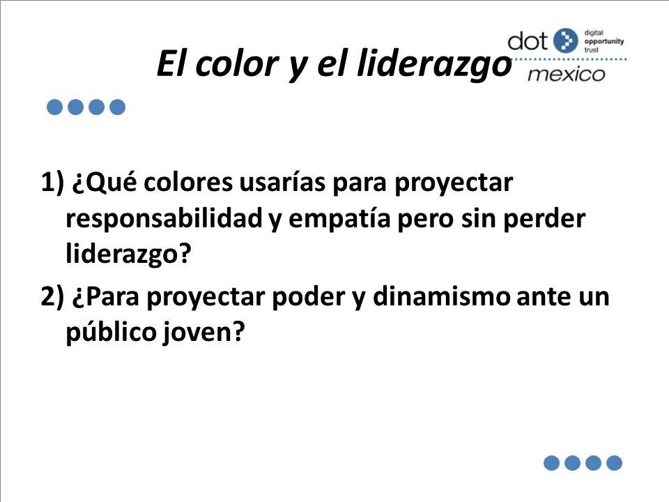 El color y el liderazgo 1) ¿Qué colores usarías para proyectar responsabilidad y empatía pero sin perder liderazgo? 2) ¿Para proyectar poder y dinamis