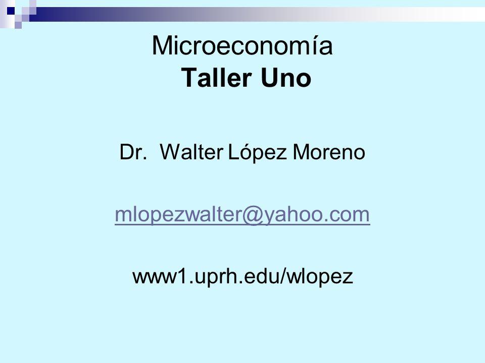 Microeconomía Taller Uno Dr. Walter López Moreno mlopezwalter@yahoo.com www1.uprh.edu/wlopez