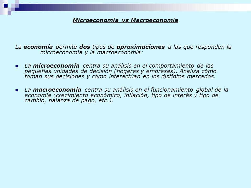 Microeconomía vs Macroeconomía La economía permite dos tipos de aproximaciones a las que responden la microeconomía y la macroeconomía: La microeconom